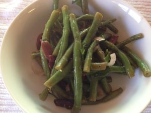 Local Green Bean Salad with Lemon Vinaigrette, Shallots, Local Parsley, and Sliced Kalamata Olives