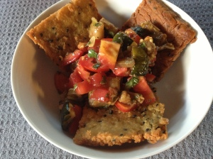Cripy Seeded Chickpea Crackers and Bruschetta